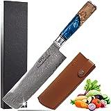 SYU Couteau Nakiri Damas 17,8cm Couteaux de Cuisine Japonais à Légumes Couteau de Végétarien Avec Gaine En Cuir Lame Ultra Tr