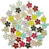 Jiali Q 40pcs Mixed Color Zinc Alloy Enamel Mini Crown Flower Charms for DIY Necklaces Bracelets Jewelry Accessories (Flower)