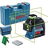 Bosch Professional linjelaser GLL 3-80 G (grön laser, inomhus, arbetsområde: 30m, 4x AA-batterier, i förvaringsväska)