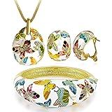 YouBella Jewellery Set AAA Swiss Zircon Enamel Gold Crystal Necklace Pendant Bracelet Bangle and Earrings Jewellery Combo for