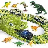 burgkidz Juego de Pistas Dinosaurios de Carreras de Autos, 260 Piezas Dinosaurios Pista con 3 Vagones de Ferrocarril y 7 Jugu