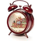 Konstsmide Snow Globe - Reloj despertador con escena, relleno de agua/interior (IP20) opcional de ocho canciones/funciona con