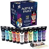 TBC The Best Crafts Premium-Acrylfarbe, 12 Farben/große Tuben (120 ml), reiche Pigmente, ideales Kunstmalzubehör für Profis u