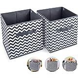 2pcs Cube de Rangement Pliable Boîtes de Rangement 30x30x30cm Tiroirs Non-Tissé Boîtes avec Poignée Panier de Rangement Caiss