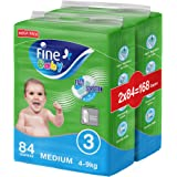 Fine Baby Fast Sorption, Size 3, Medium, 4-9 kg, Two Mega Packs, 168 Diapers
