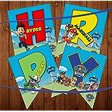 klassik paw patrol theme happy birthday banner with ribbon|paw patrol theme decoration- Multi color