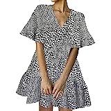 FANCYINN - Vestido corto de verano para mujer con cuello en V