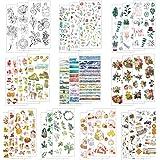 LAITER 30 Pcs Feuilles Autocollant Bullet Journal Sticker en Motif de Plante Animal Fleur pour Scrapbooking Agenda Gommettes