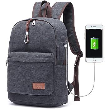 56073fddd1 Travistar Men Canvas Backpack School Backpack - 15 inch Laptop ...