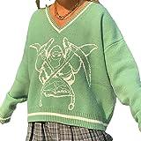 SMIMGO oversized gebreide trui met V-hals voor dames, Y2k-mode, vintage, Argyle, sweater, vest, trui, top, esthetische kledin