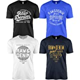 Pack of 4 Men's Casual T-Shirts for Jeans with Front Print and Crew Neck Denim Jeans T-Shirts