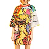 Elf Sack Donna VestitoCasual Manica a pipistrelloT Shirt Dress Grafica Stampata Limitata Mini Abiti Estivi