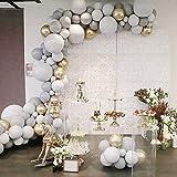 Ballongbåge girlang-kit, 100 st vitgrå födelsedagsdekoration festtillbehör, med krommetalliska guldballonger och knotter, föd