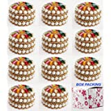 INDIAN CRAFTS Aluminum Kumkum Box (2.5 x 4.5x 4.5 cm, Multicolour), Round