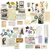60PCS Papier Cartonné Vintage Scrapbooking DIY 4 Boîtes Pour décoration Bricolage Papeterie Fournitures Papier Journal Etique