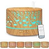 Hianjoo Aroma Diffuser 700 ml luchtbevochtiger met timer, ultrasone aromatherapie diffuser LED met 7 kleuren voor kantoor, yo
