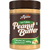 Alpino Natural Peanut Butter Crunch 400 G | Unsweetened | Made with 100% Roasted Peanuts | 30% Protein | No Added Sugar | No