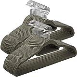 SONGMICS Cintres en Velours, Lot de 50, Crochet pivotant à 360°, Antidérapant, pour Costumes Chemises Robes Cravates, Gris CR