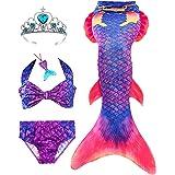 5Pcs Mermaid Tails for Swimming Girls,Mermaid Swimsuit for Girls,Mermaid Bathing Suit Set Kids Birthday Gift 3-13Y