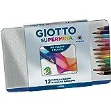 Giotto 236700 - Supermina Scatola Metallo 12 Pastelli Colorati