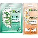 Garnier Skin Naturals Green Tea Face Serum Sheet Mask 32g & Hydra Bomb Eye Serum Mask (Orange) 6g
