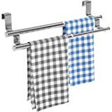 Kitchen Towel Holder,Over The Door Tea Towel Holder,Towel Rail Expandable & Double,Towel Rack No Drilling,for Cupboard Drawer