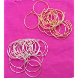 Delush Design Round Loop Rings for Jewellery Making -Pack of 2 (50 pcs Each, Silver-Golden)