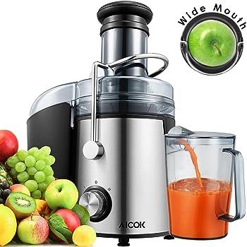 Estrattore di Succo a Freddo,Aicok Estrattore di Succo,800W Estrattore di succo,75mm centrifuga a bocca larga,Con Juice Jug e Spazzola di Pulizia per frutta e verdura Estrattore,Acciaio Inox