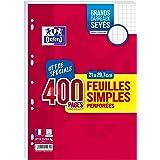 Oxford Lot de 400 Pages Feuilles Simples Grands Carreaux Seyès Format A4 (21x29,7cm) Perforées