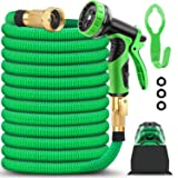 BAZOLOTA Garden Hose, Expandable 50FT Water Hose with 9 Function Nozzle, Flexible Gardening Hose with All Brass Connectors, L