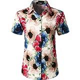 JOGAL Women's Floral Blouse Casual Button Down Short Sleeve Aloha Tropical Hawaiian Shirt