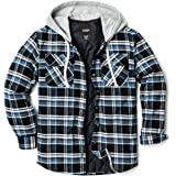 CQR Men's Hooded Quilted Lined Flannel Shirt Jacket, Long Sleeve Plaid Button Up Jackets