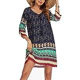 Beyove Damen Bohemian Tunika Kleid Strandkleid Tunikakleider Vintage Strandtunika 3/4-Arm Rundhals Kleid Blumenmuster Kurzes
