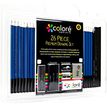 Colore 26 Piece Drawing and Sketching Pencils Art Set – High Quality Premium Graphite and Charcoal Sticks - Erasers and Sharpeners, Ideal for Schoolwork and Professional Art