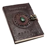 ALCRAFT Real Leather Green Stone Brown Embossed Handmade Diary with Metal Lock -Size of (H) 6*(L) 4.5 Brown
