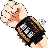 Bracelet Magnétique Cadeaux pour hommes Porte-vis Magnétique avec 20 Aimants Puissants et Ceinture à Outils 2 Poches pour Hom