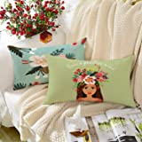 BRICK HOME Highlighter Printed Canvas Cotton Cushion Cover, Multicolour, 12x18 Inches, Set of 2