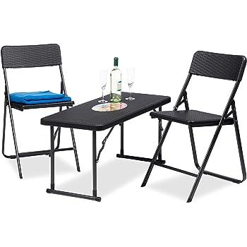 Hervorragend Relaxdays Gartenmöbel Set Klappbar, 3 Teilig, Polyrattan, Tisch  Höhenverstellbar, H X B