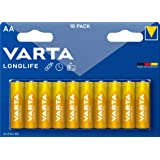 VARTA Longlife AA Mignon LR06 Alkaline Batteries (10-pack) – Made in Germany – ideal for remote controls, radios, alarm clock