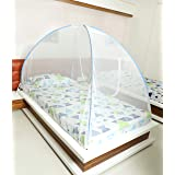 Fegore Foldable Mosquito Net for Single Size Bed, Polyester Material(Design_Color_May_Vary)