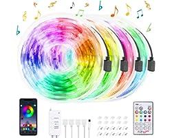 Ruban LED 20M, HEERTTOGO Bande LED Bluetooth 5050 RGB Bande Lumineuse Flexible Multicolore, avec Télécommande à 23 Touches, S