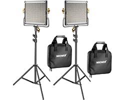 Neewer 2 Pack Regulable Bi-Color 480 LED de Luz de Vídeo y Kit de Iluminación de Soporte Incluye: 3200-5600K CRI 96 + Panel d