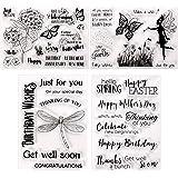 4 Pièces Tampons Transparents Cartes Tampons en Silicone d'Été avec Motif de Fleur, Papillon, Libellule, Mots de Salutation p