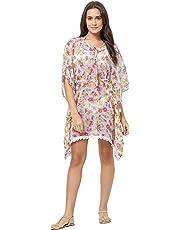 SOURBH Women's Beach Wear Kaftan Top Floral Print Bikini Boho Body Swim Costume Coverups Dress Girls (SK426, One Size)