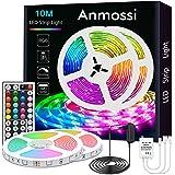 Anmossi LED Strip 10m,RGB LED Strip met 44 Toetsen Afstandsbediening,Kleurwissel en Dimbare LED Strip Lights,SMD 5050 LED Chi