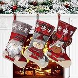 Awroutdoor Medias de Navidad, 3 pcs Calcetines de Navidad para el árbol de Navidad Chimenea Decoración, Adorno de Navidad Bol