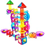 Magnescape 109 pcs Magnetic Tiles Marble Run Ball Run Building Construction Toys Educational Fun Creative STEM Toys Best Gift