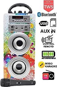 DYNASONIC - Tragbarer Bluetooth-Karaoke-Lautsprecher mit Mikrofon, USB- und SD-Lesegerät, FM-Radio Modell (Model 1) (Model 1