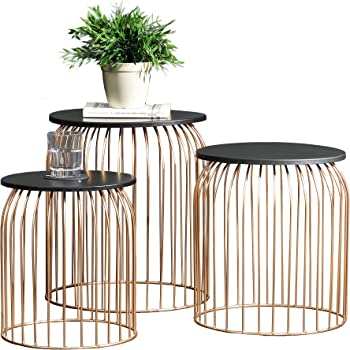 en.casa ® Metallkorb Beistelltisch Couchtisch Sofatisch 3er Set Deko Dunkelgrau