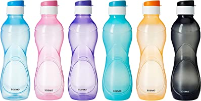 Amazon Brand - Solimo Plastic Water Bottle Set with Flip cap (Set of 6, 975ml, Multicolor)